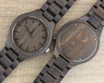 Wood Watch HAVERN Engraved Wooden watch - Wood watch for Men - Groomsmen Gifts - Anniversary Gifts - Birthday Gift - Groom Gift Idea WS001BK