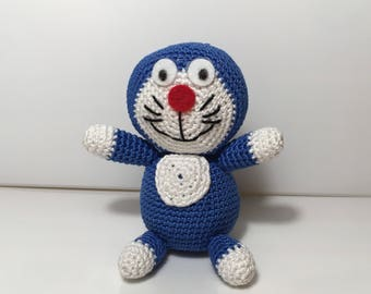 Amigurumi crochet Doraemon gift idea for her, for him and kids keychain