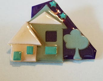 Vintage House Pin by Lucinda, House Pin by Lucinda, House Pin, by Lucinda, Lucinda Jewelry, House Pin Jewelry