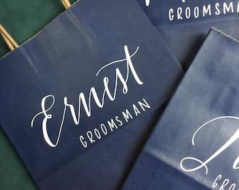 Groomsman Gift Bag, Bridesmaid Gift Bag, Groomsmen, Personalized Gift Bag, Navy, White, Customized, Christmas