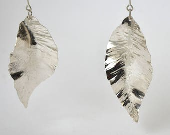 Large leaf earrings pierced, unique pieces of silver 950/1000
