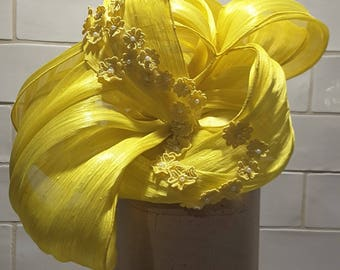 Yellow Silk Abaca Headpiece