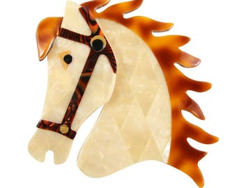 Lea Stein Butter The Horse Head Brooch Pin - Pearly Creme, Brown