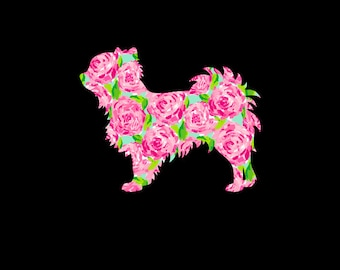 Long Hair Chihuahua Decal for your car, phone, tablet, wherever! Choose your favorite preppy print and the size that works best for you!