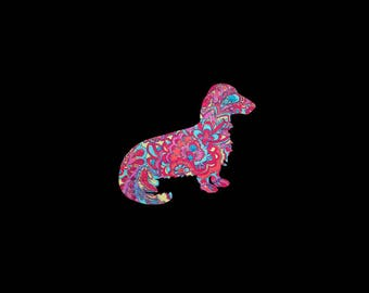 Long Haired Dachshund Doxie Vinyl Preppy Print Car Decal in Your Choice of Sizes and Patterns!