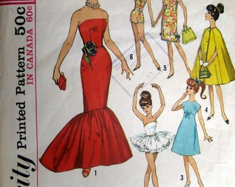 "Vintage Barbie Doll Pattern Atlantic City Wardrobe One Size 11 1/2"" #5 Cut Uncut 5 Styles"