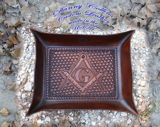 Leather Valet Tray, Tooled leather Catchall, Masonic Valet Tray, Freemason