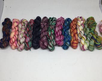 Mini skeins by the skein 10 grams each sold individually  you choose, Mini sock skein hand dyed for your sock scrap blankets, hand dyed yarn