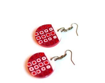 Red Geometric earrings Red Christmas earrings Red and White Bohemian jewelry Circle bead earrings Fashion jewelry Dangle and drop earrings