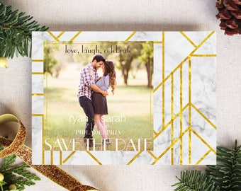 Holiday Card, Celebrate, Christmas Wedding Save the Date, Wedding, Photo Card, Holiday Save the Date, Christmas Save the Date, Geo, Deco