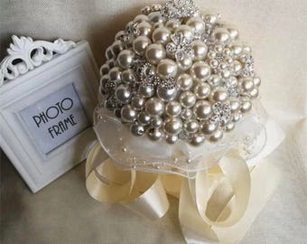 Pearl brooch bouquet, ivory pearl bouquet, custom pearl bouquet, bride bouquet,BROOCH BOUQUET