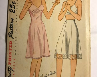 Vintage 1940s Simplicity Slip and Lingerie Pattern, B36