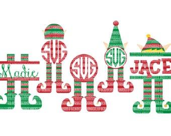 Elf Monogram Frames, Elf SVG Christmas, Monogram SVG File, dxf eps SVG files Silhouette Cameo Cricut Explore Christmas Cut Files
