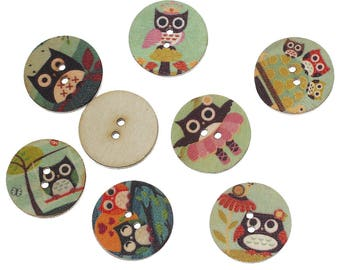 set of 6 round wood buttons