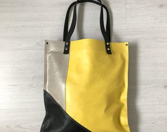 Yellow black silver leather tote bag, reversible tote bag