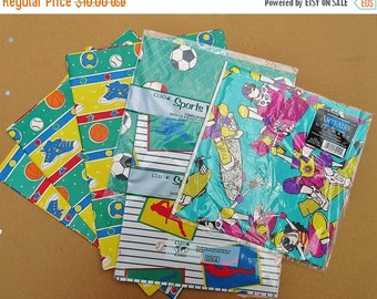 SALE 15% OFF Vintage 80s/90s SPORTS Wrapping Paper Lot of 9 Pieces - Gifts, Scrapbooking