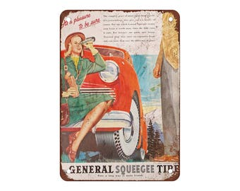 "1947 General Squeegee Tires - Vintage Look Reproduction 9"" X 12"" Metal Sign"
