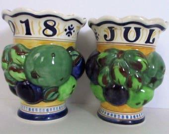 Rare Pair Of July 1918 Aluminia Faience Royal Copenhagen Porcelain Fruit Vase Signed 3D Figural Denmark