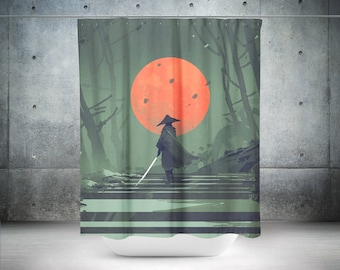 Samurai Shower Curtain | Japanese Shower Curtain | Samurai Bathroom Decor | Japanese Bathroom Decor