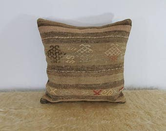 Vintage Kilim Pillow Case Muted Colours Rustic Style