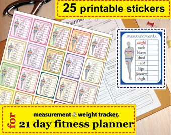 Stickers for fitness planner, measurement stickers, stickers for fitness journal  Easy to Use 21 day fitness planner - Instant Download