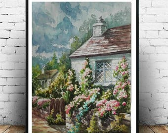Rustic|wall|decor Farmhouse|decor Landscape art Watercolor painting Birthday Gift|for|her Country|decor Cottage Landscape painting Village
