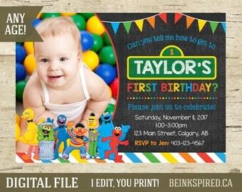 Sesame Street Invite, Sesame Street Invitation, Sesame Street Party, Elmo Party, Cookie Monster, Big Bird, 1st 2nd Birthday, DIGITAL FILE