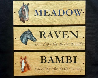 Custom Personalised Oak Stable Stall Door Plaque Sign with Your Horses Head painted and Engraved Name - Hard wood