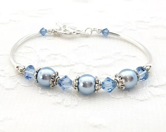 Bridesmaid Bracelet, Bridesmade Gift, Bridal Party Gift, Pearl and Crystal Bracelet