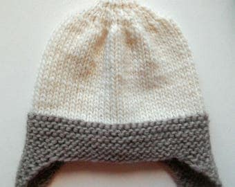 Knitted hat with ears 48-50, height 20 cm