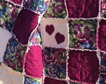 Rag Quilt, Homemade Quilt, Embroidery, Butterfly Blanket, Quilts Handmade, Appliqués, Heart Quilt, Rag Quilt Throw, Quilt For Sale, Country