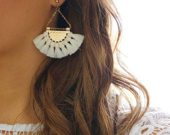 Tassel earrings, white tassel earrings, tassel jewelry, tassels, gold tassel earrings, gold earrings, statement earrings, white earrings