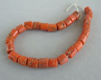 Antique Mediterranean Natural Coral beads, Coral Necklace, Coral Jewelry, Mediterranean Coral Beads, Natural Color Coral. FREE SHIPPING!!!