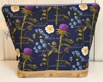 Large Outlander Wedge Bag | Project Bag | Knitting Bag | Zipper Bag | Makeup Bag
