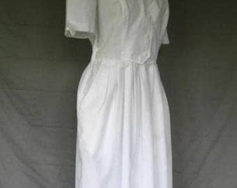 On Sale 1980's White Nurses Uniform Dress