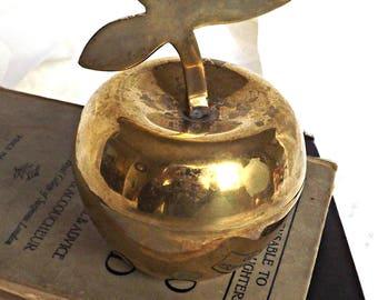 Brass Apple, Keepsake Holder, Trinket Box, Retro Brass, Teachers Gift, Solid Brass