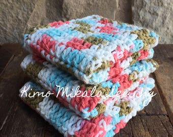 Crocheted Dishcloths - Coral, Light Turquoise, and Brown Variegated - 100% Cotton - Set of Three
