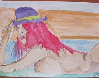 """dessin peinture aquarelle nu feminin erotique fine art   """"Rétro""""  24x32cm"""