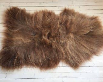 Sheepskin rug soft, volumous throw sheep skin long haired Norwegian pelt natural brown 17224