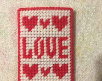 Plastic Canvas Love Gift Card Holder