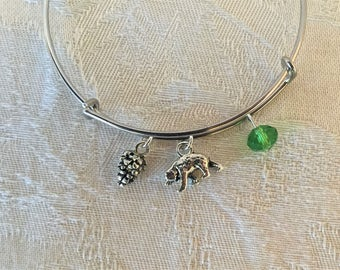Bear And Crystal Silver Adjustable Wire Bangle Bracelet