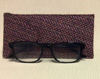 Welsh tweed glasses/spectacles case in pink & brown
