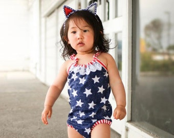 Stars & Stripes Romper - Baby Toddler Rompers - Sunsuit - Stars - Skirt - Bow - Boho - Headwrap - Summer - 4th of July Outfit, Red, White