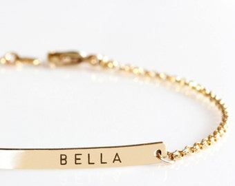 Gold  Bar bracelet, Custom Name Bracelet, Engraved Bracelet, Personalized Initial bracelet, Nameplate Monogram Bracelet, Bridesmaids Gift
