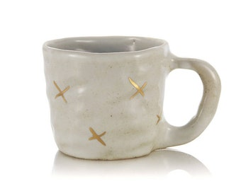 ceramic handmade mug gold crosses