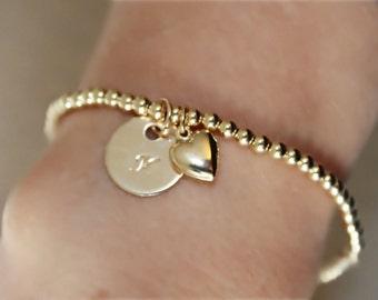 Gold bracelet,14K Gold Filled bracelet, gold stackable bracelet, layered bracelets, personalized beaded bracelet,14K Gold filled charm LN110
