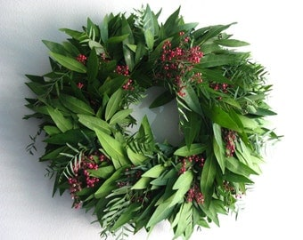 Fresh Bayleaf & Pepperberry Wreath