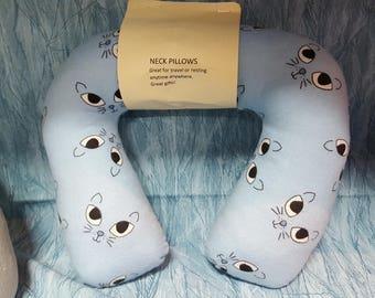 Cats - Neck support pillow - Cervical pillow - Gift for her - Travel neck pillow - Airplane pillow - Blue - Neck rest pillow