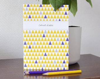 SMALL purple and yellow TRIANGLES design book