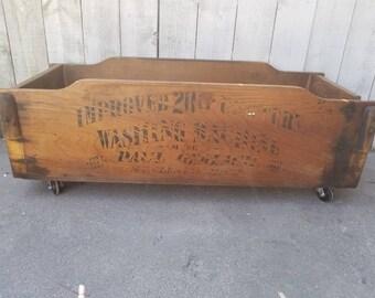 Firewood Storage Box Vintage Wood Storage Bin Rustic Storage Decor  Farmhouse Bin Antique Wood Wash Tub